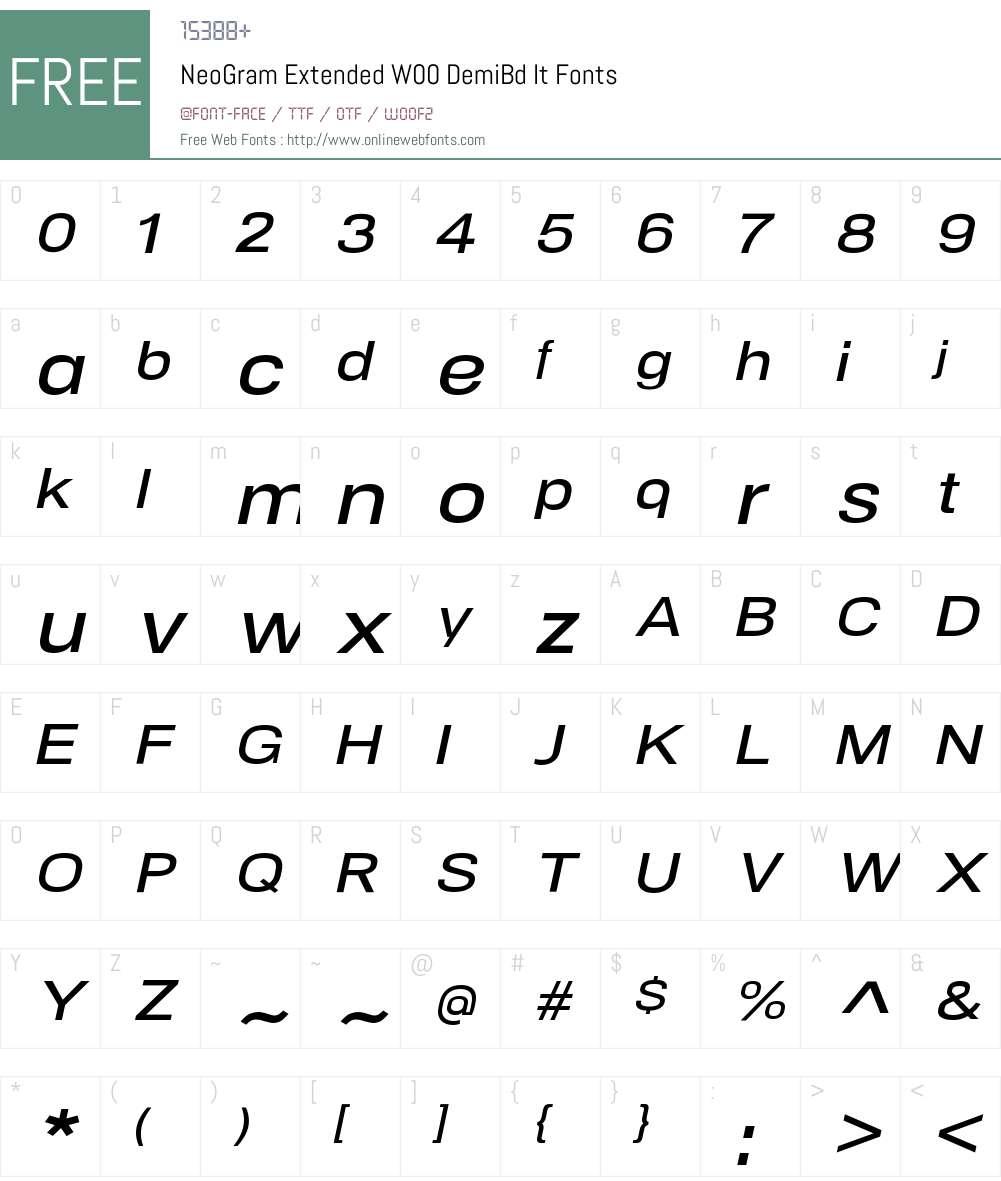 NeoGramExtendedW00-DemiBdIt Font Screenshots