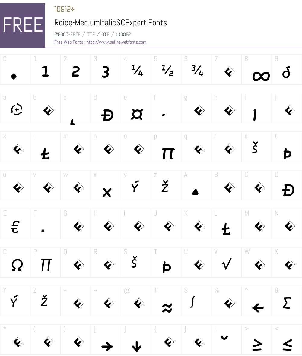 Roice-MediumItalicSCExpert Font Screenshots