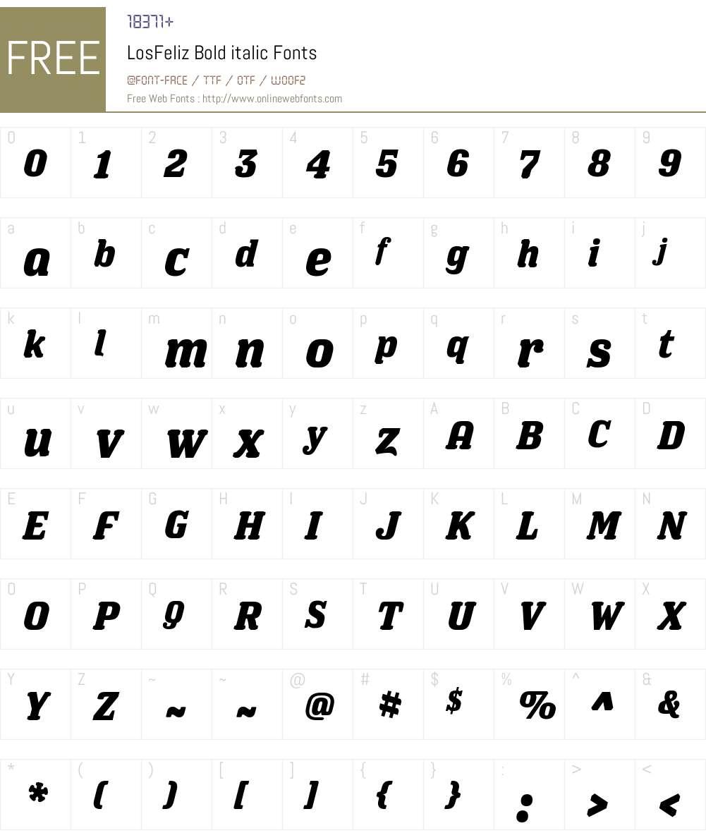 LosFeliz Bold italic Font Screenshots