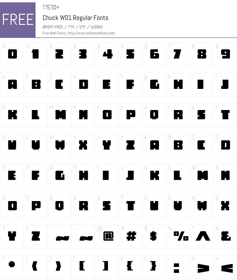 ChuckW01-Regular Font Screenshots