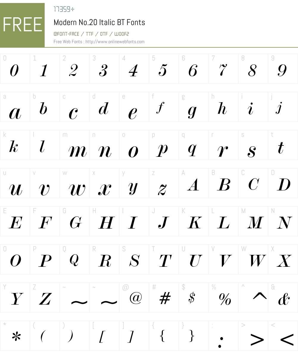 Modern20 BT Font Screenshots