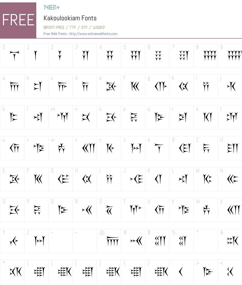 Kakoulookiam Font Screenshots
