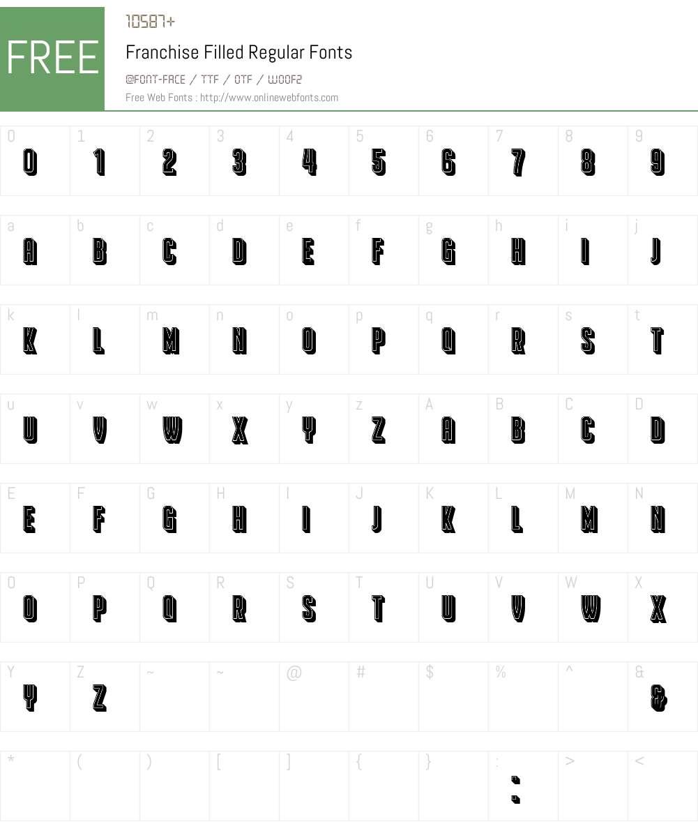 Franchise Filled Font Screenshots