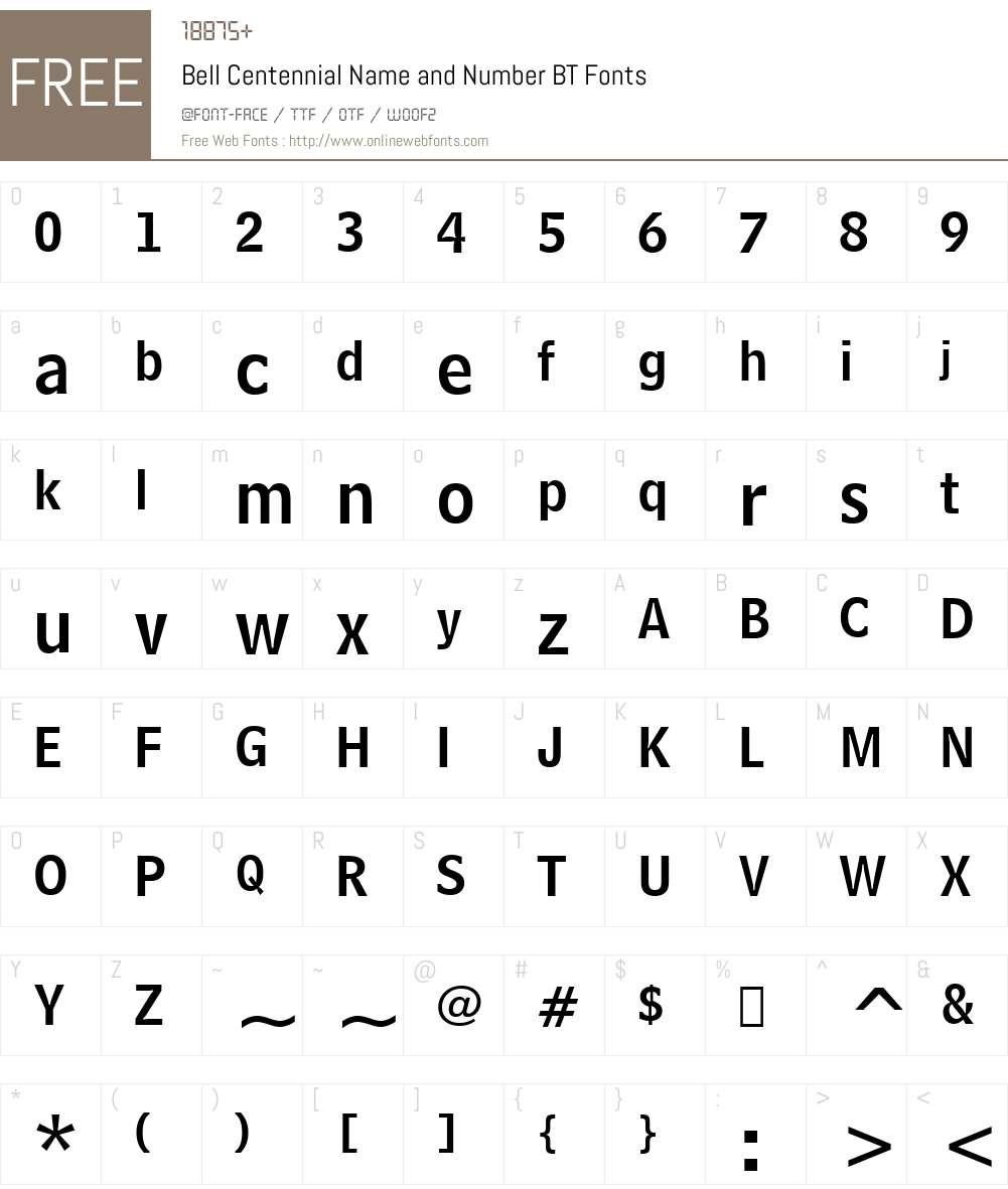 BellCent NamNum BT Font Screenshots
