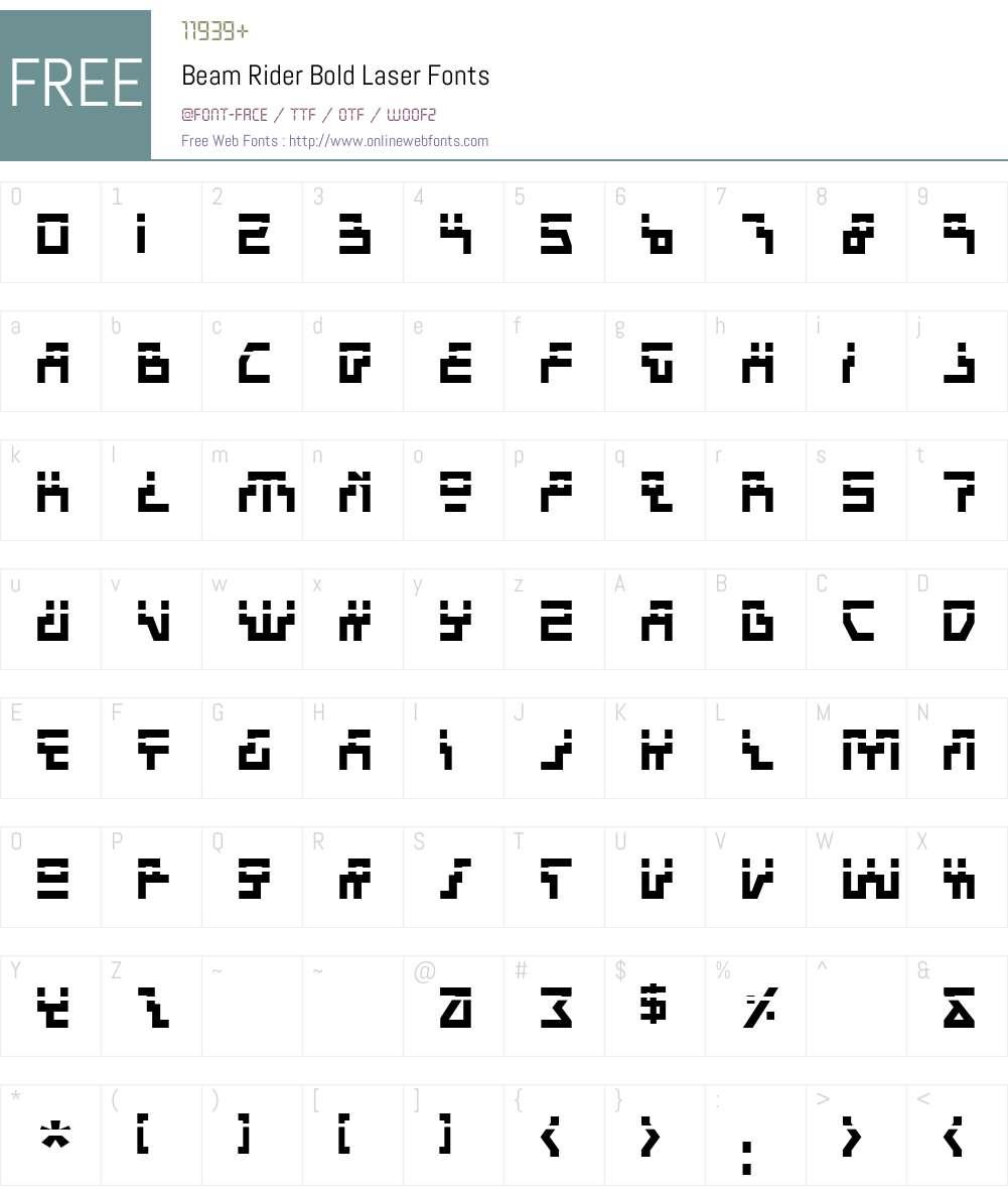 Beam Rider Bold Laser Font Screenshots