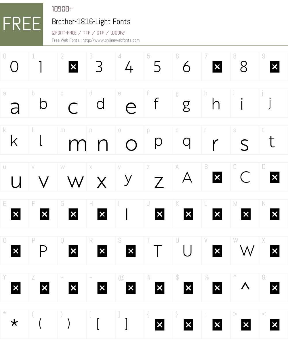 Brother-1816-Light Font Screenshots