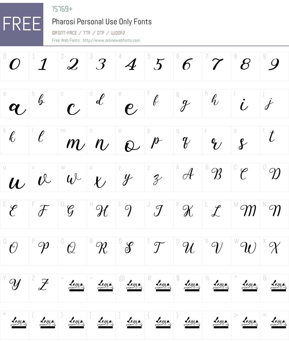Pharosi Personal Use Only Font Screenshots