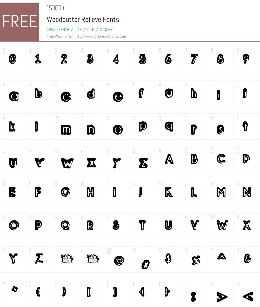 Woodcutter Relieve Font Screenshots