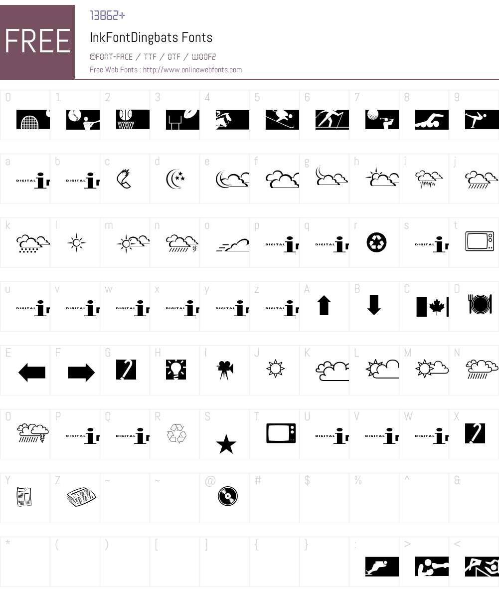 InkFontDingbats Font Screenshots