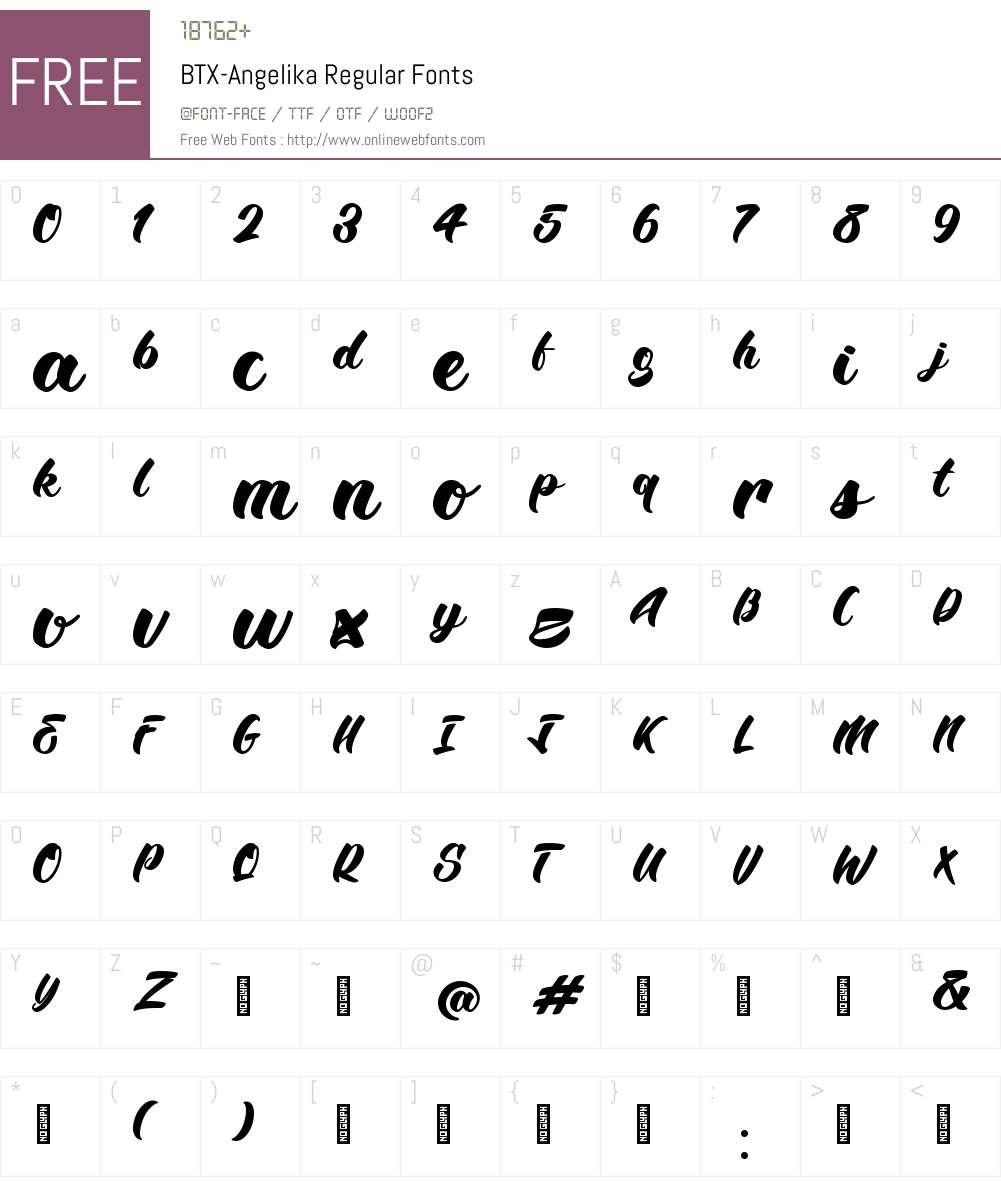 BTX-Angelika Font Screenshots