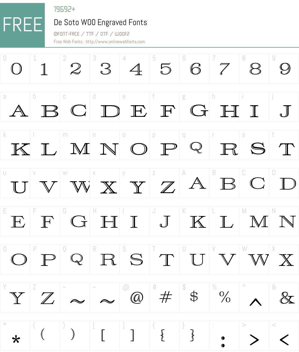 DeSotoW00-Engraved Font Screenshots