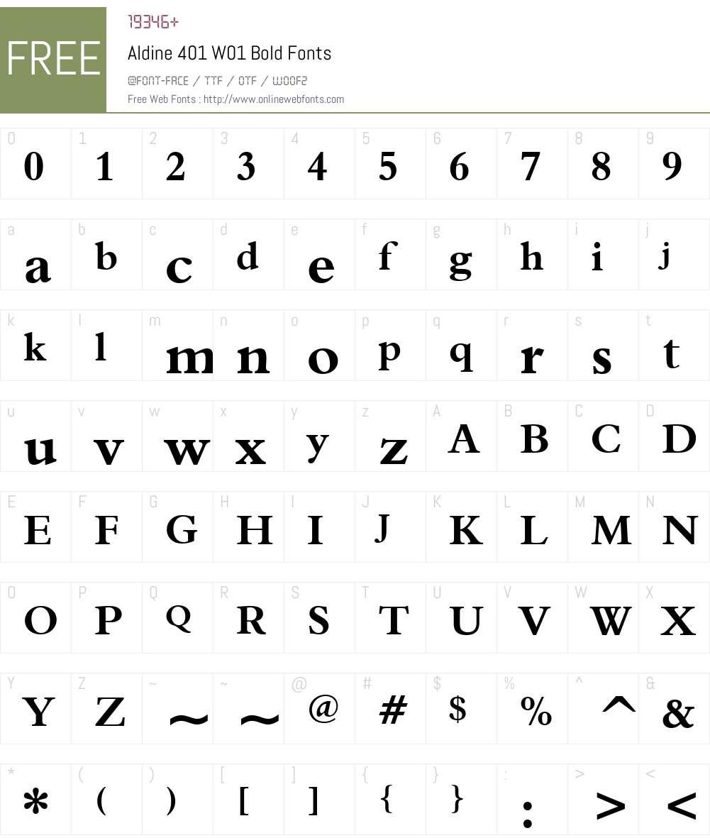 Aldine401W01-Bold Font Screenshots