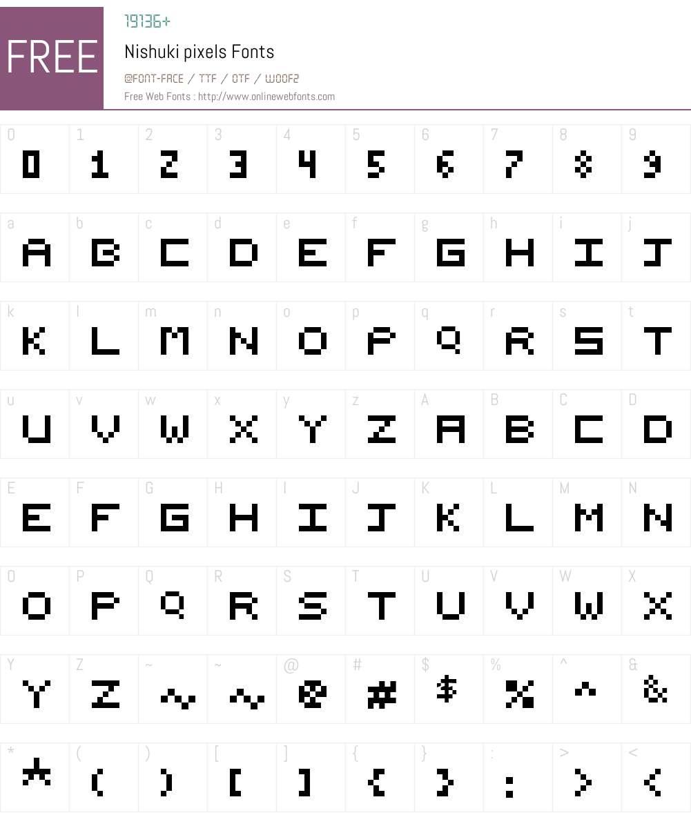 Nishuki pixels Font Screenshots