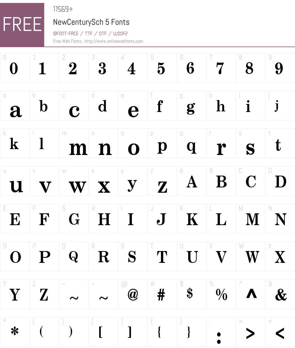 NewCenturySch 5 Font Screenshots