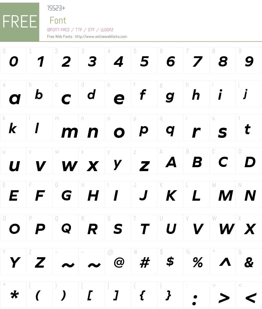 GraphieW01-BoldItalic Font Screenshots