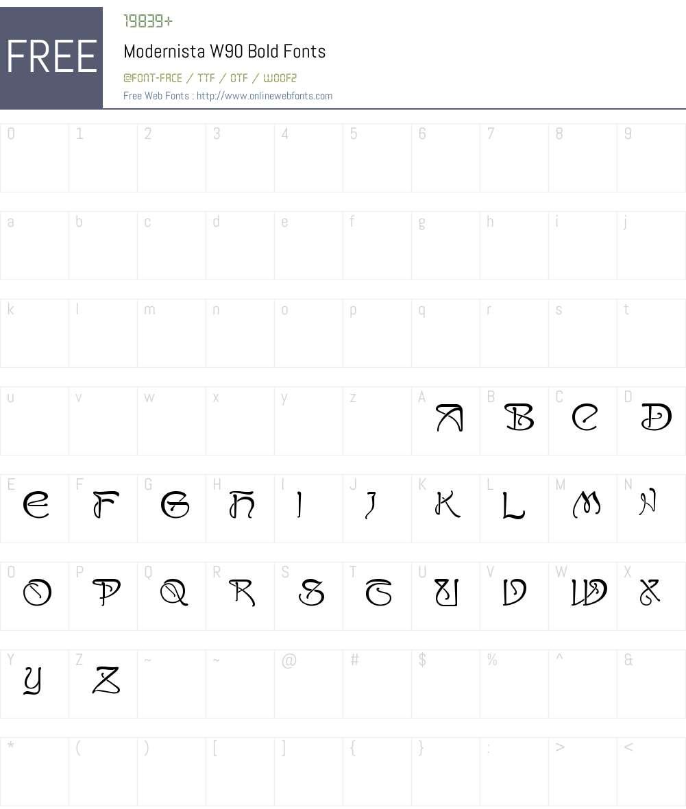 ModernistaW90-Bold Font Screenshots