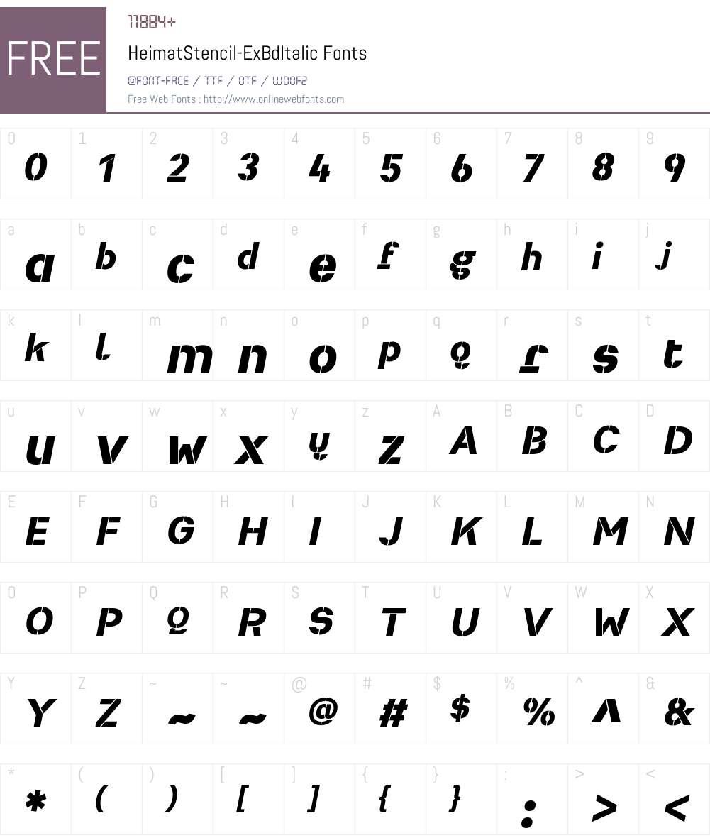 Heimat Stencil ExtraBold Font Screenshots