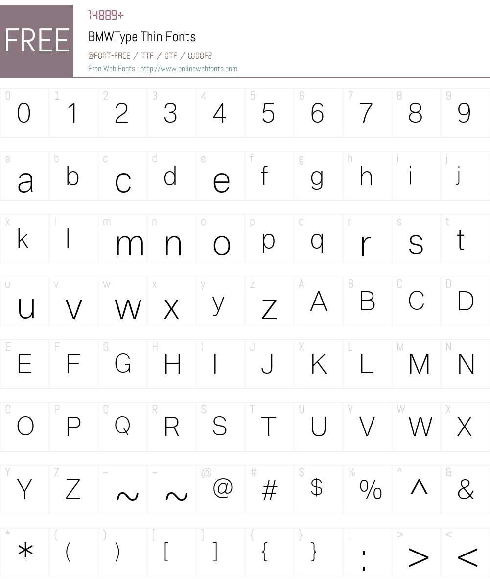BMWType Thin Font Screenshots