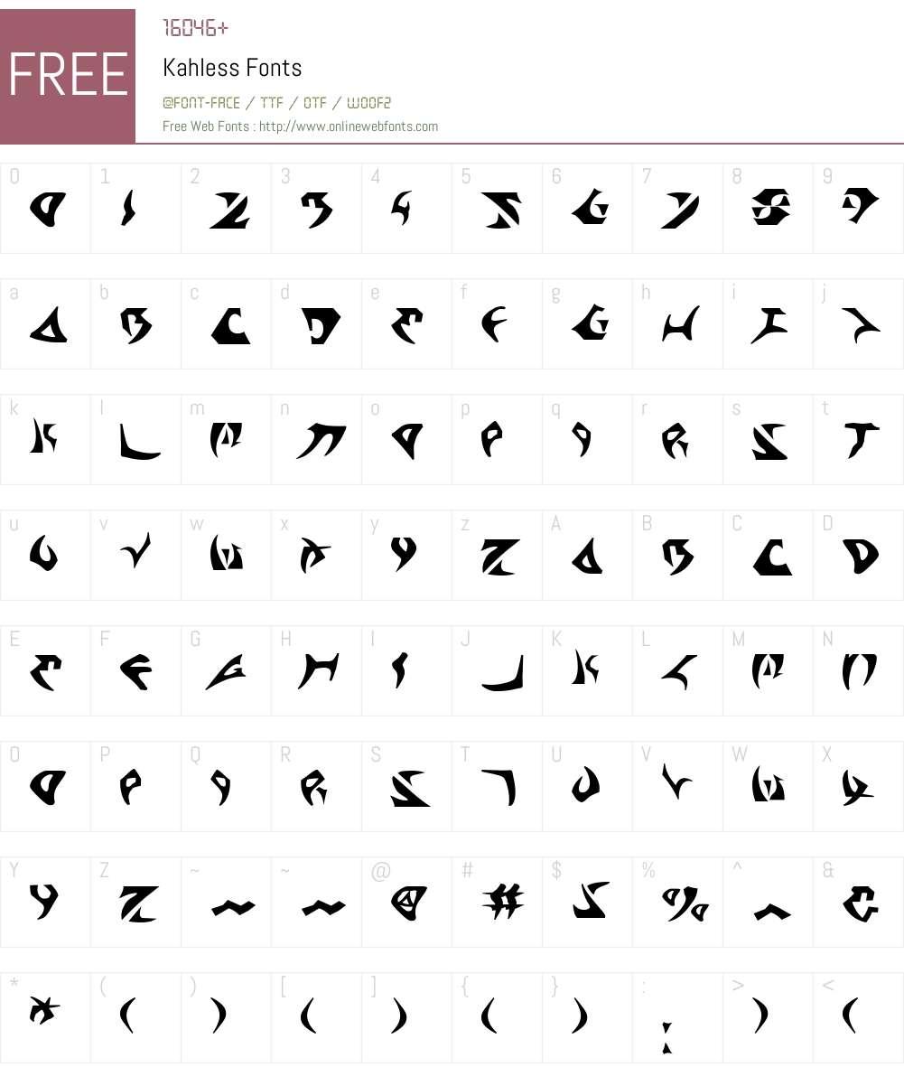 Kahless Font Screenshots