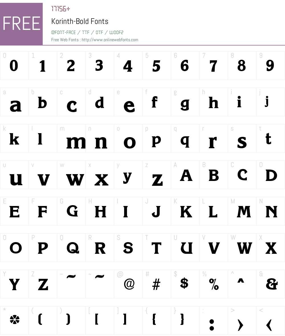 Korinth-Bold Font Screenshots