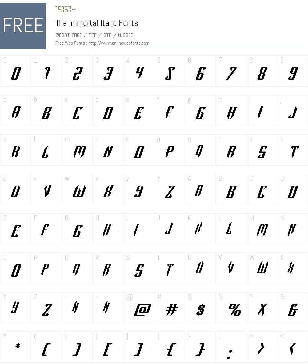 The Immortal Italic Font Screenshots
