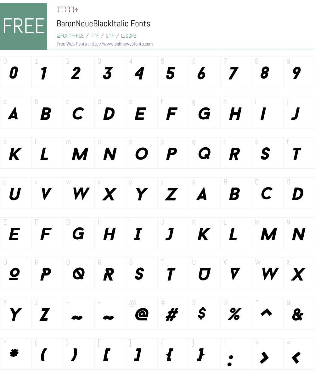 Baron Neue Black Italic Font Screenshots