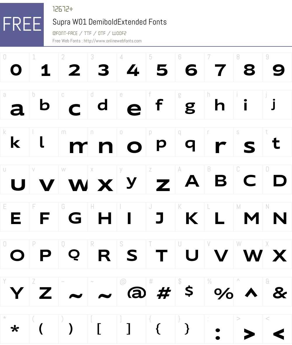 SupraW01-DemiboldExtended Font Screenshots