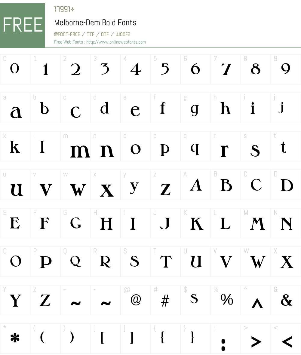 Melborne-DemiBold Font Screenshots