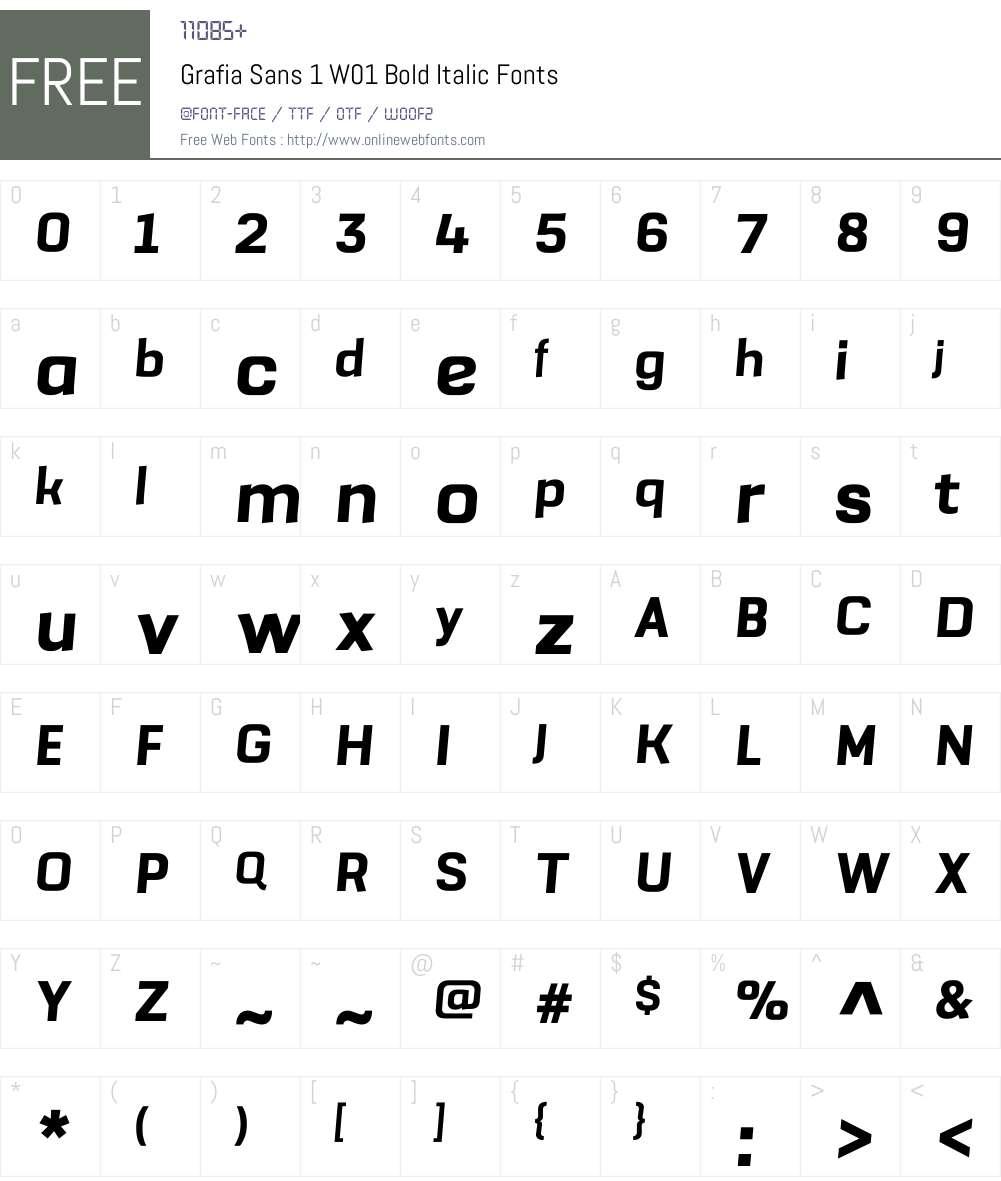 GrafiaSans1W01-BoldItalic Font Screenshots