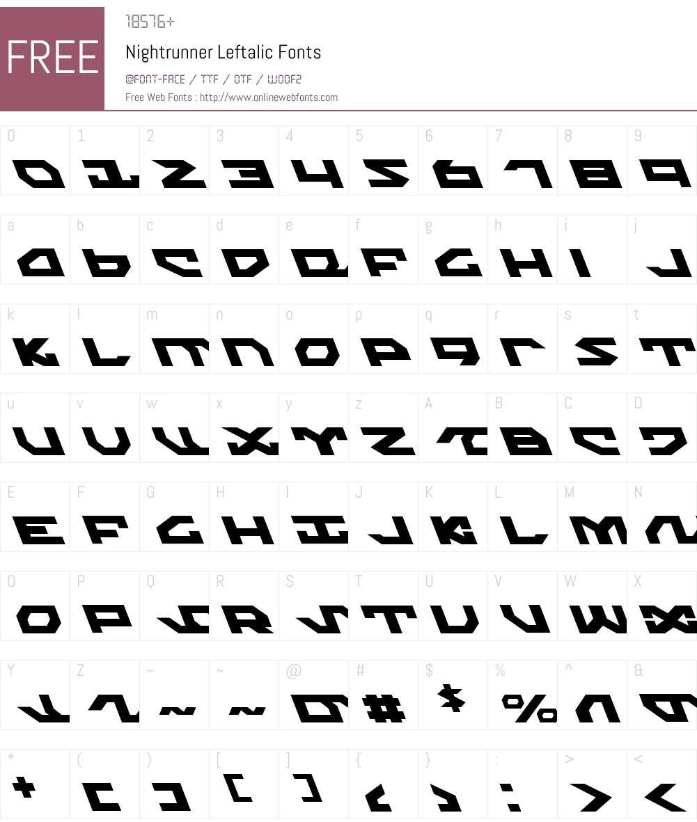 Nightrunner Leftalic Font Screenshots