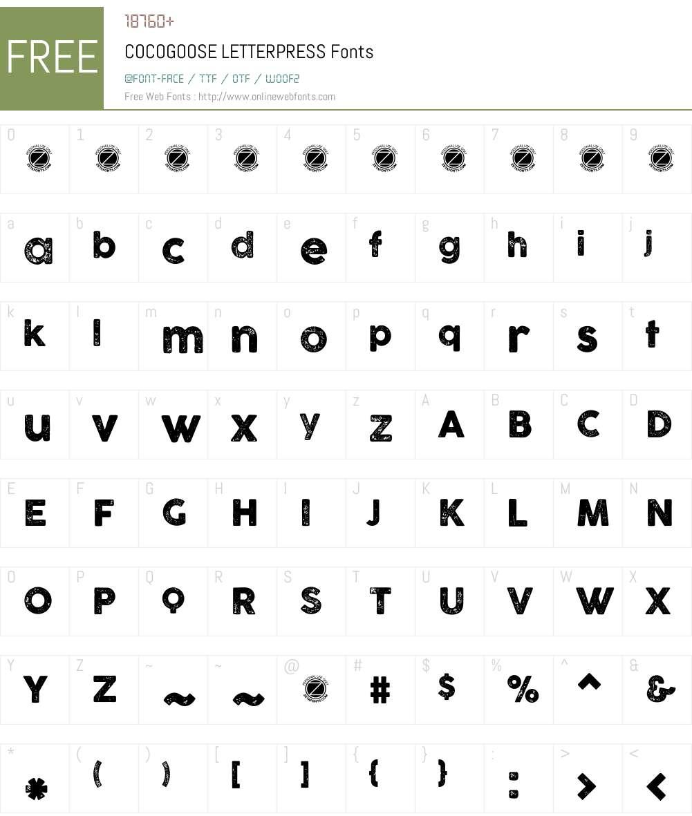 COCOGOOSE LETTERPRESS Font Screenshots