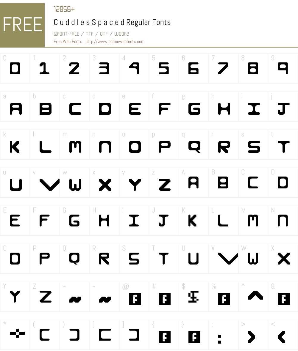 C u d d l e s S p a c e d Font Screenshots