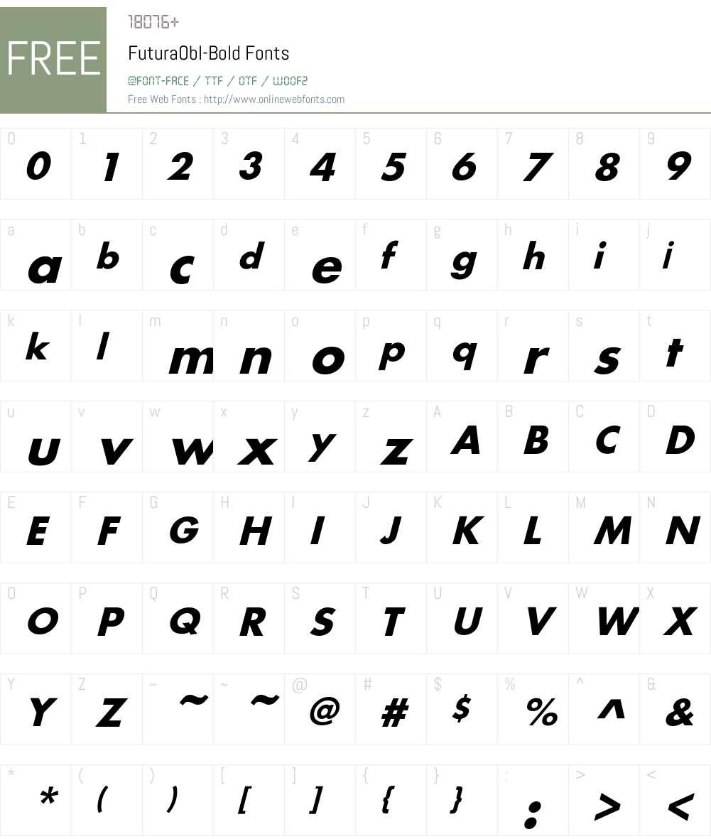 FuturaObl-Bold Font Screenshots