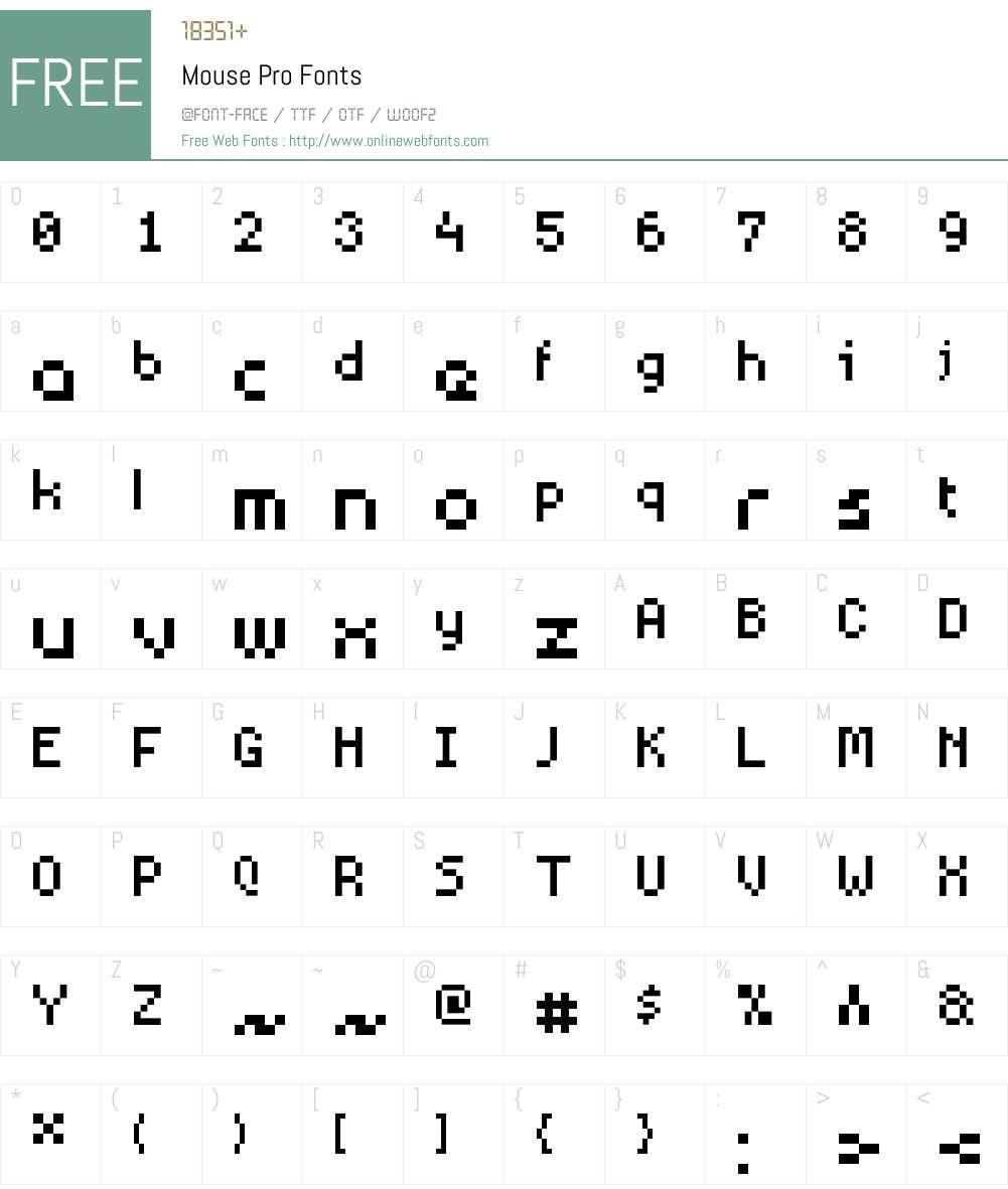 Mouse Pro Font Screenshots