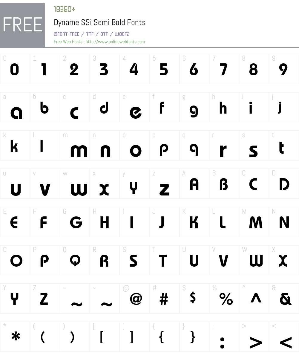 Dyname SSi Font Screenshots
