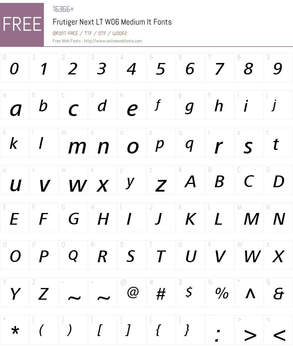 FrutigerNextLTW06-MediumIt Font Screenshots