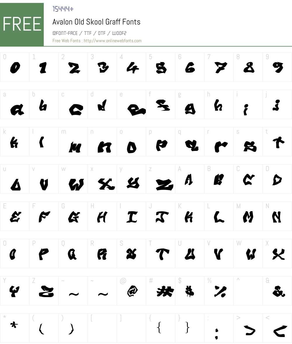 Avalon Old Skool Graff Font Screenshots