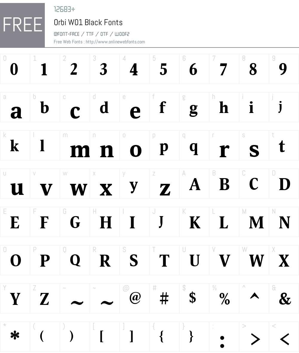 OrbiW01-Black Font Screenshots