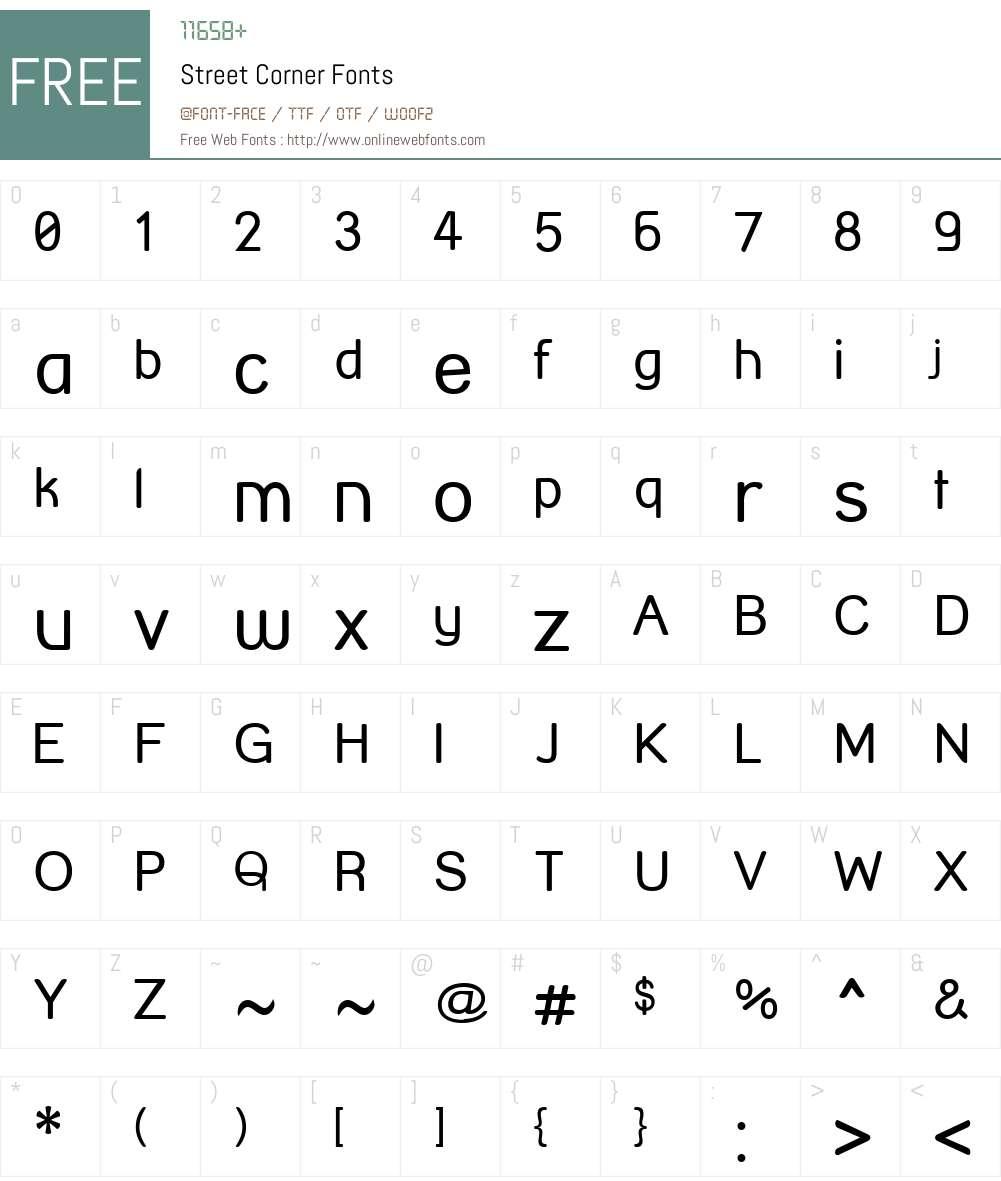 Street Corner Font Screenshots