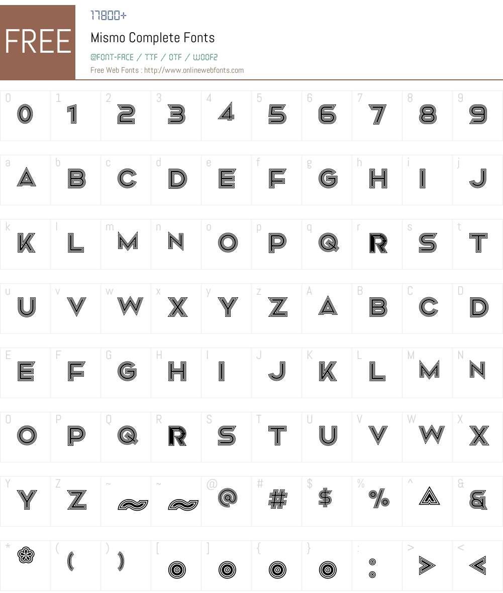 Mismo Font Screenshots