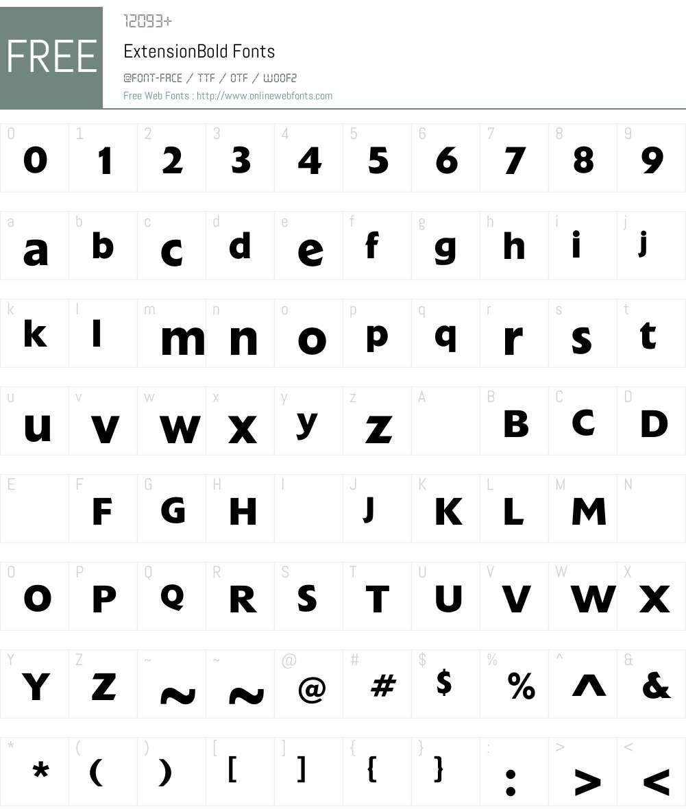 ExtensionBold Font Screenshots