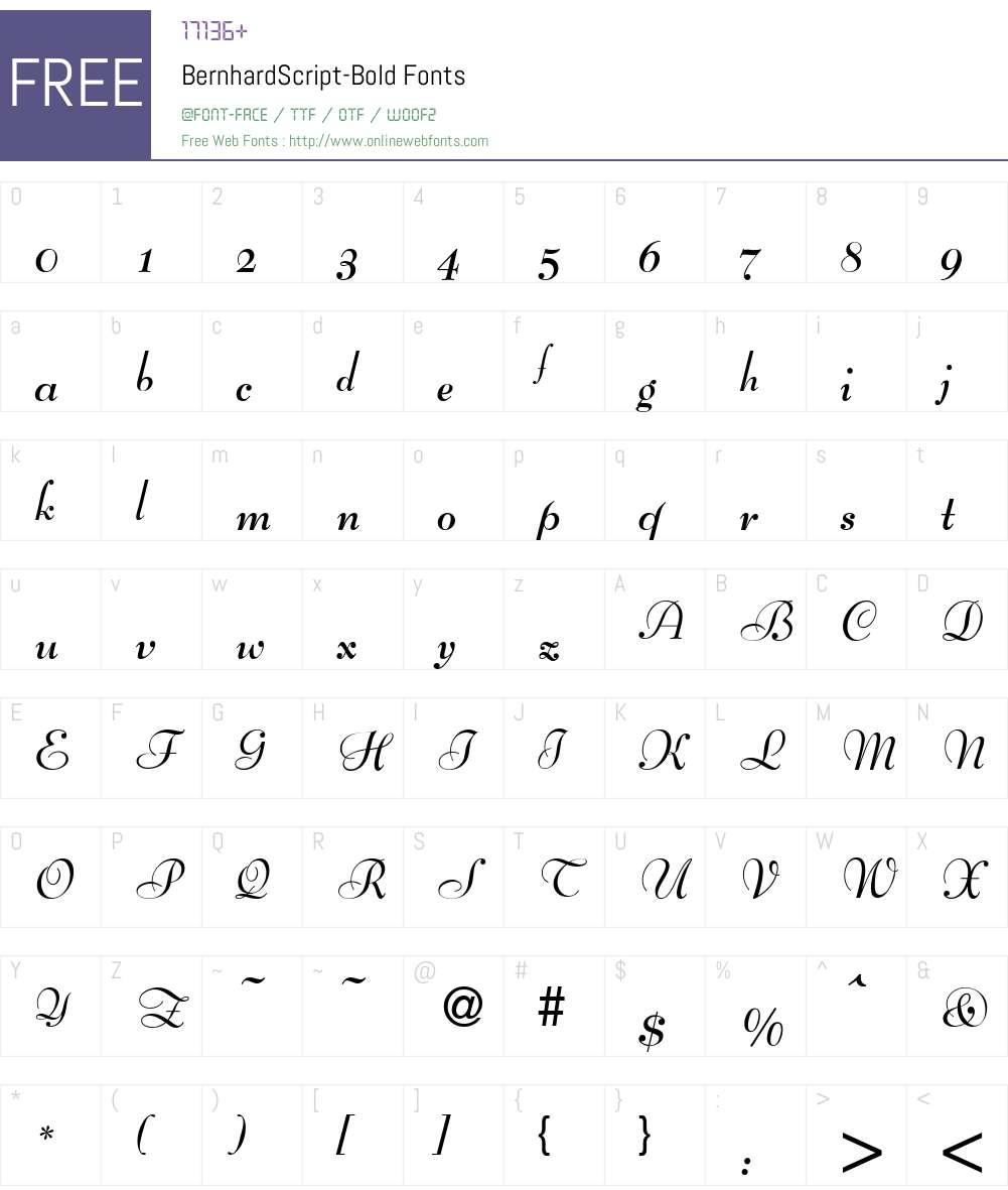 BernhardScript Font Screenshots