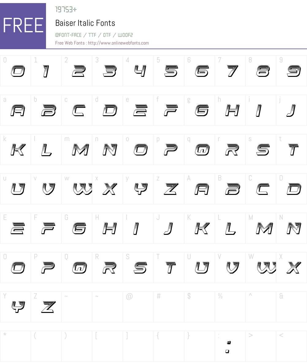 Baiser Font Screenshots