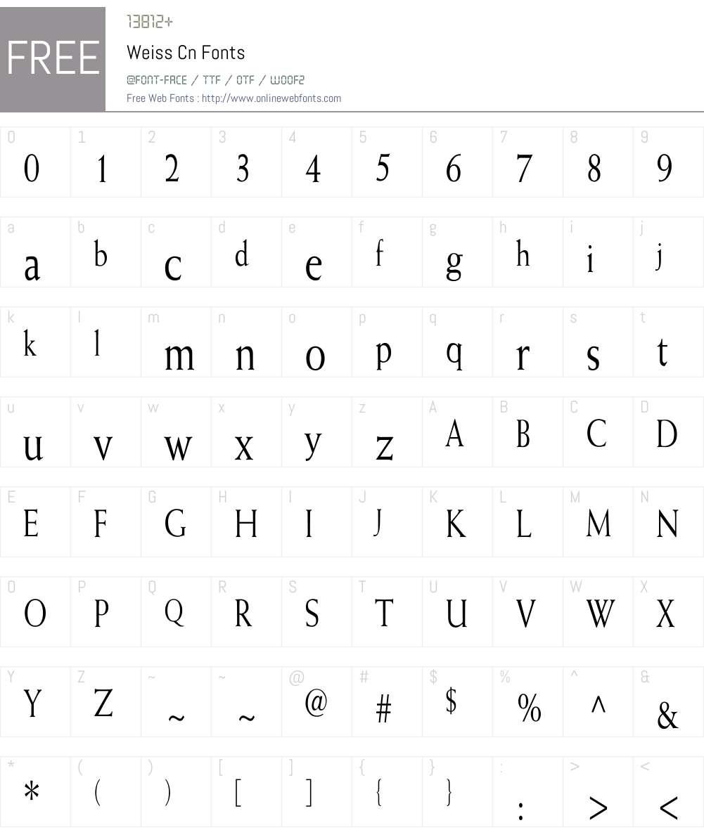 Weiss Cn Font Screenshots