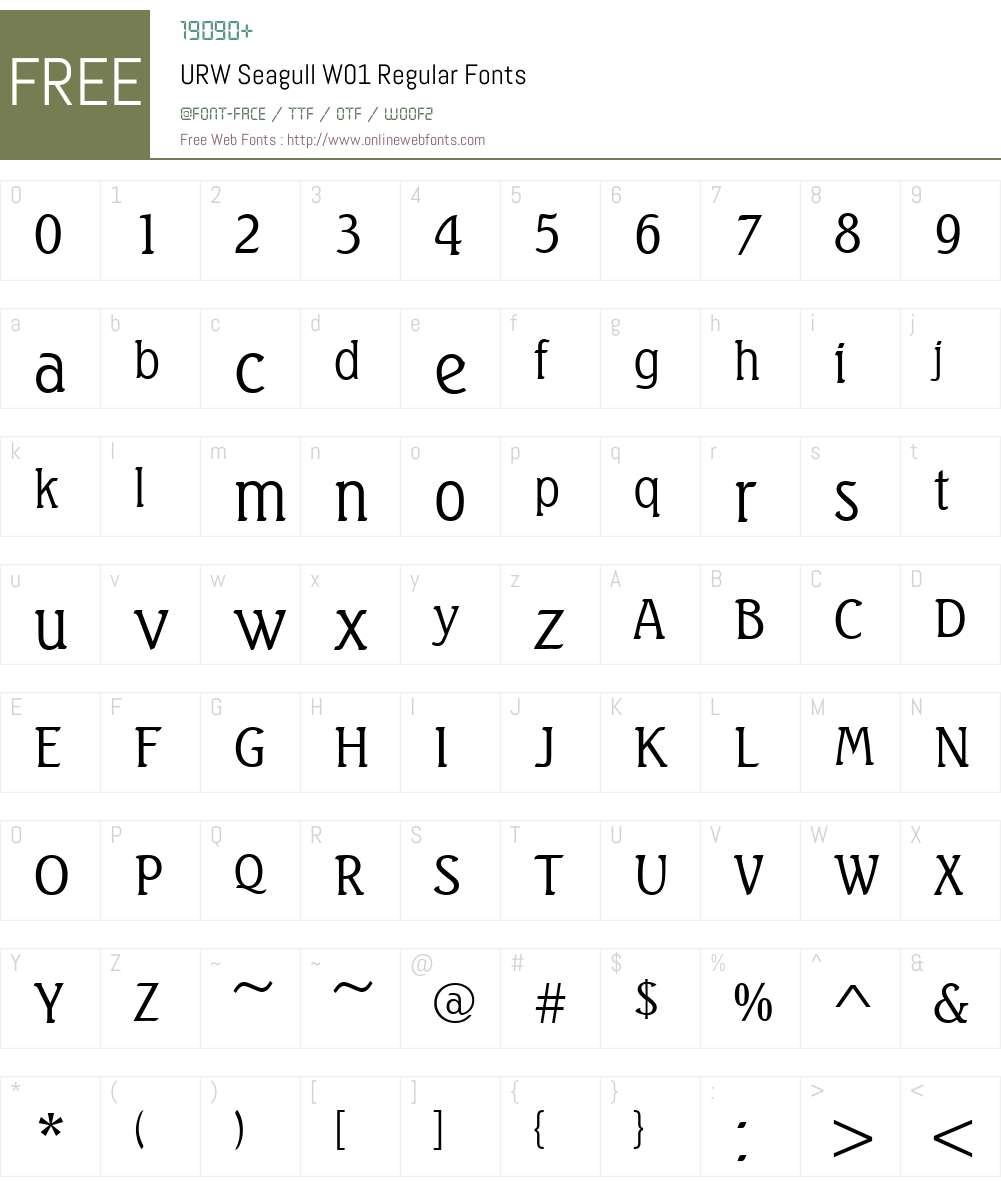 URWSeagullW01-Regular Font Screenshots