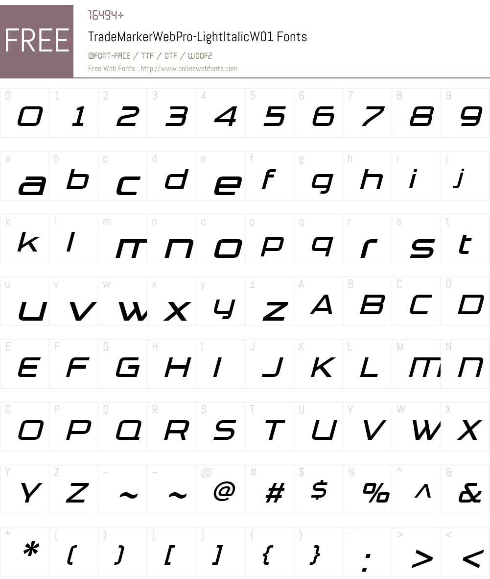 TradeMarkerWebPro-LightItalicW01 Font Screenshots