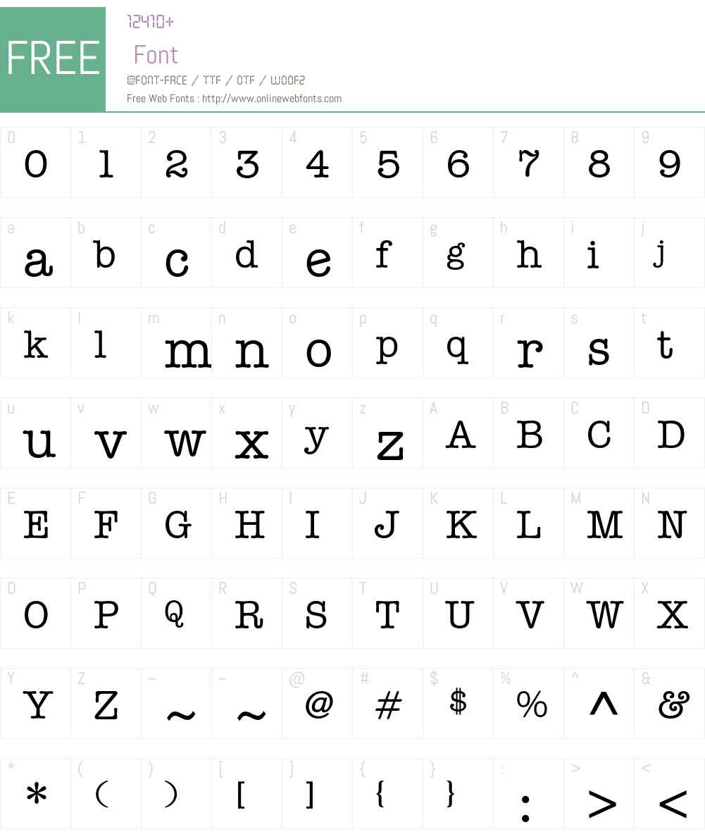 ITC American Typewriter Font Screenshots