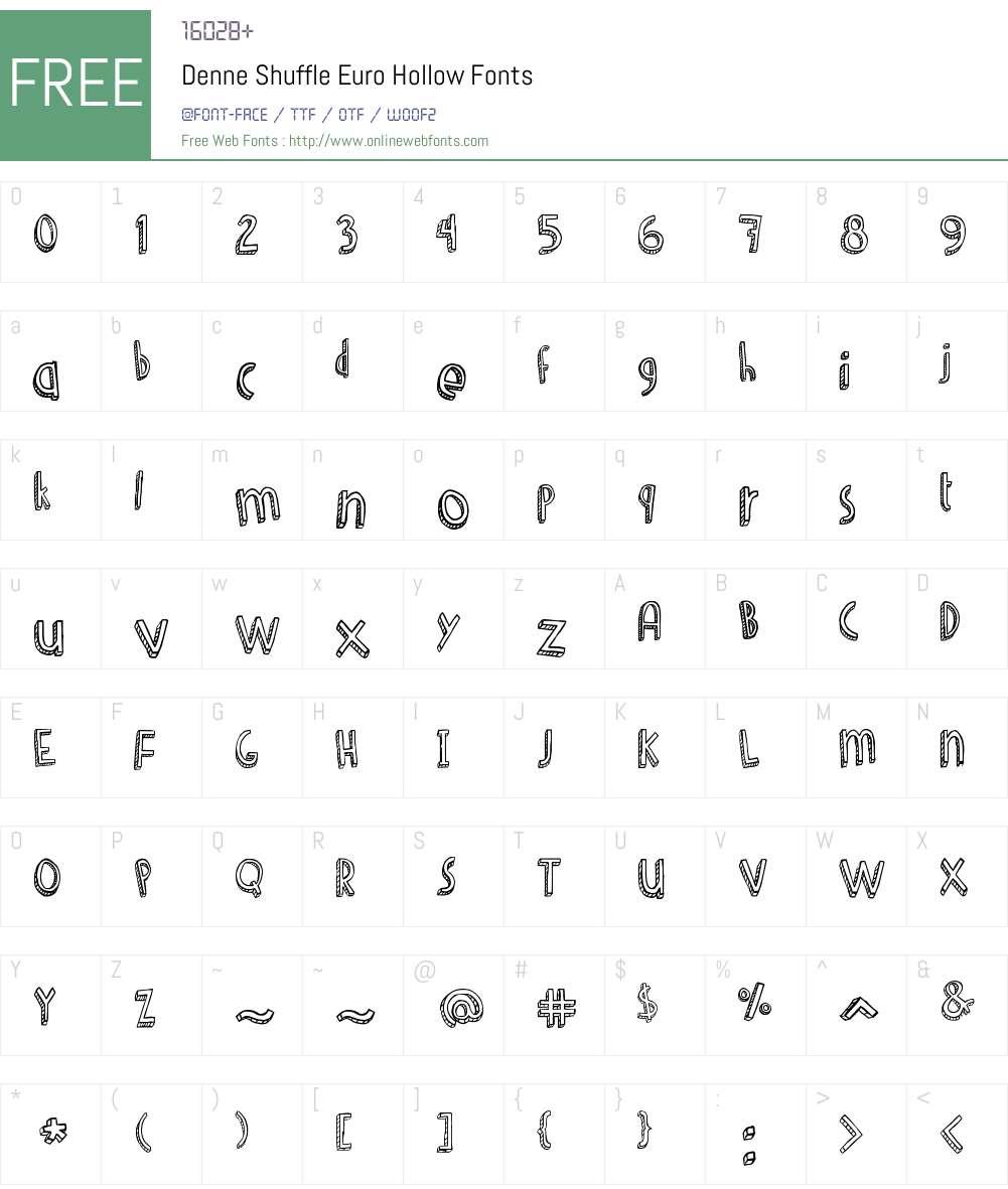Denne Shuffle Euro Hollow Font Screenshots