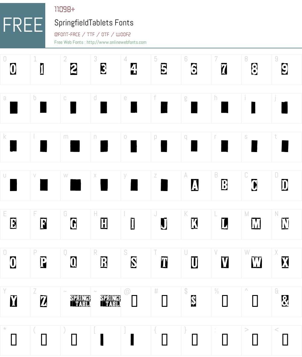 SpringfieldTablets Font Screenshots