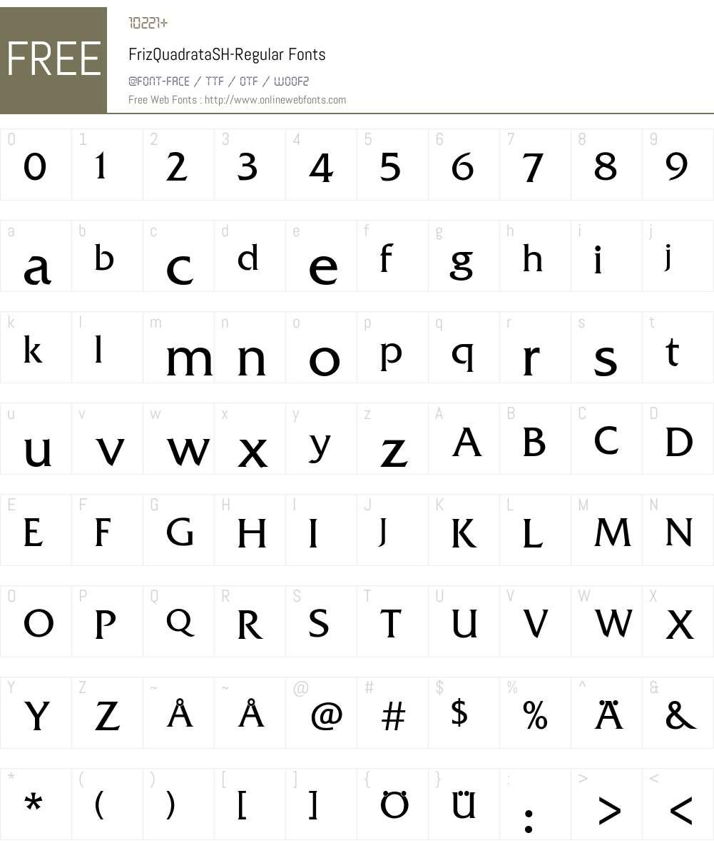 FrizQuadrataSH-Regular Font Screenshots
